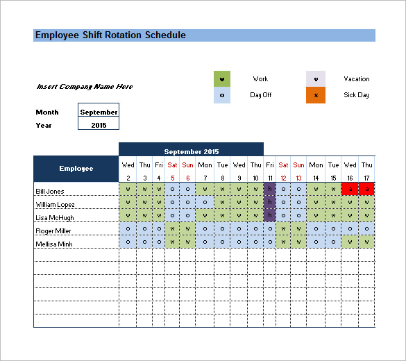 Rotating/Rotation Shift Schedule Template Free Word, Excel