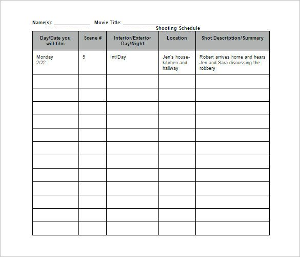 Film Shooting Schedule Template 9+ Free Word, Excel, PDF Format