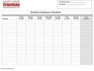 Weekly Employee Schedule Form | Template Archive