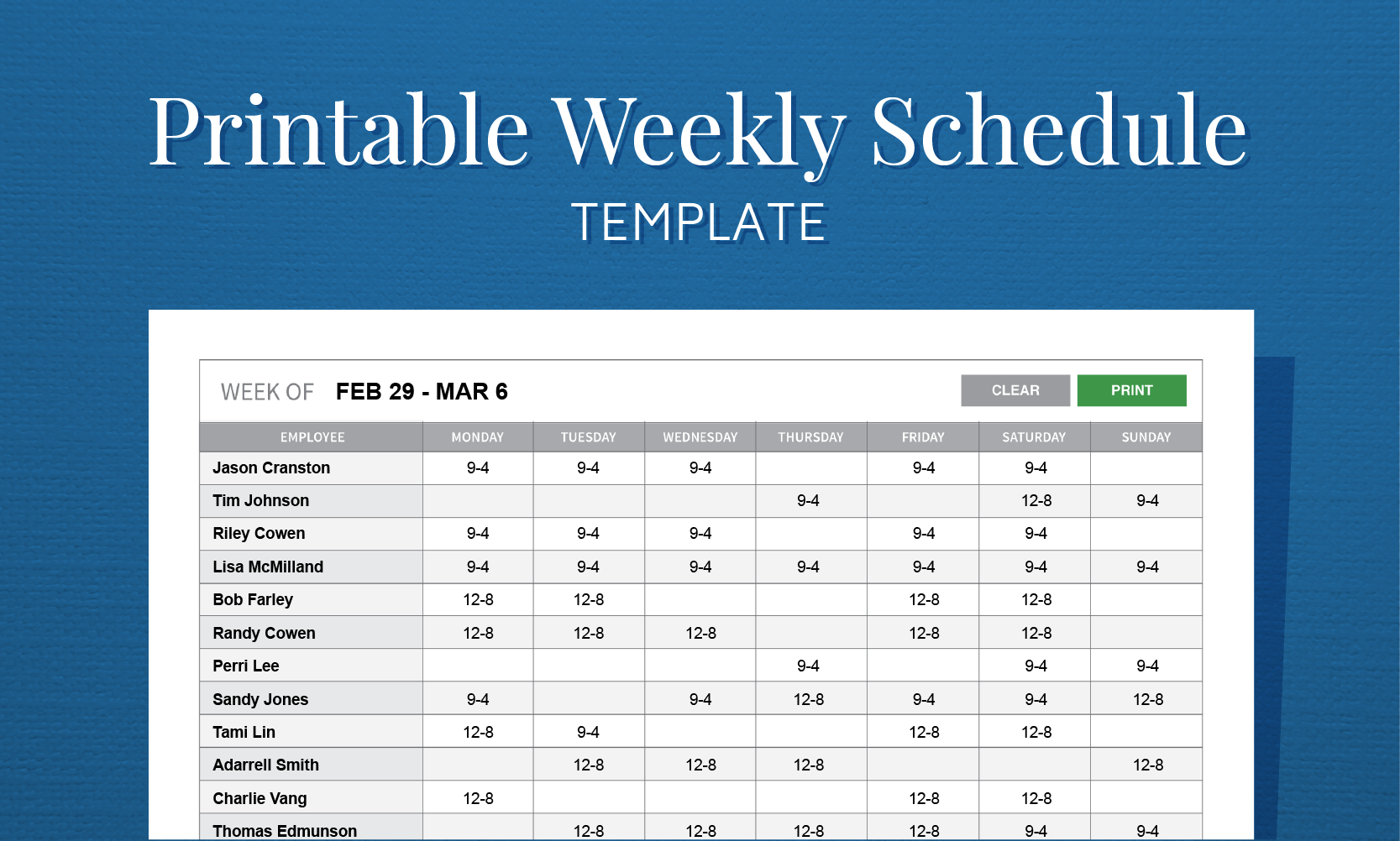 Free Printable Work Schedule Template For Employee Scheduling