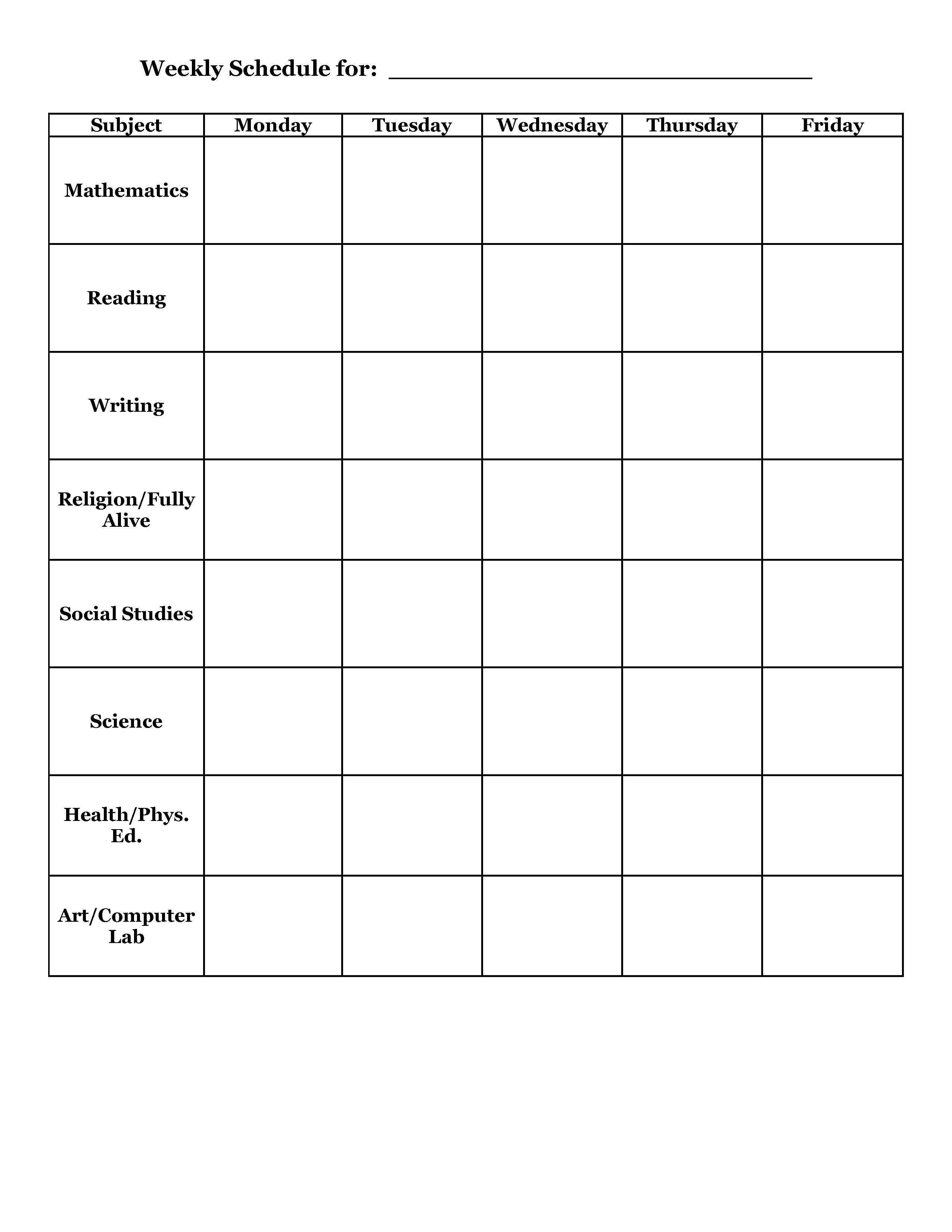 student planner templates | Weekly Schedule Template For