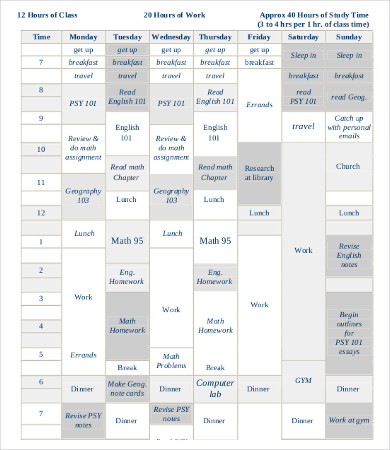 Student Schedule Template 9+ Free PDF Documents Download | Free