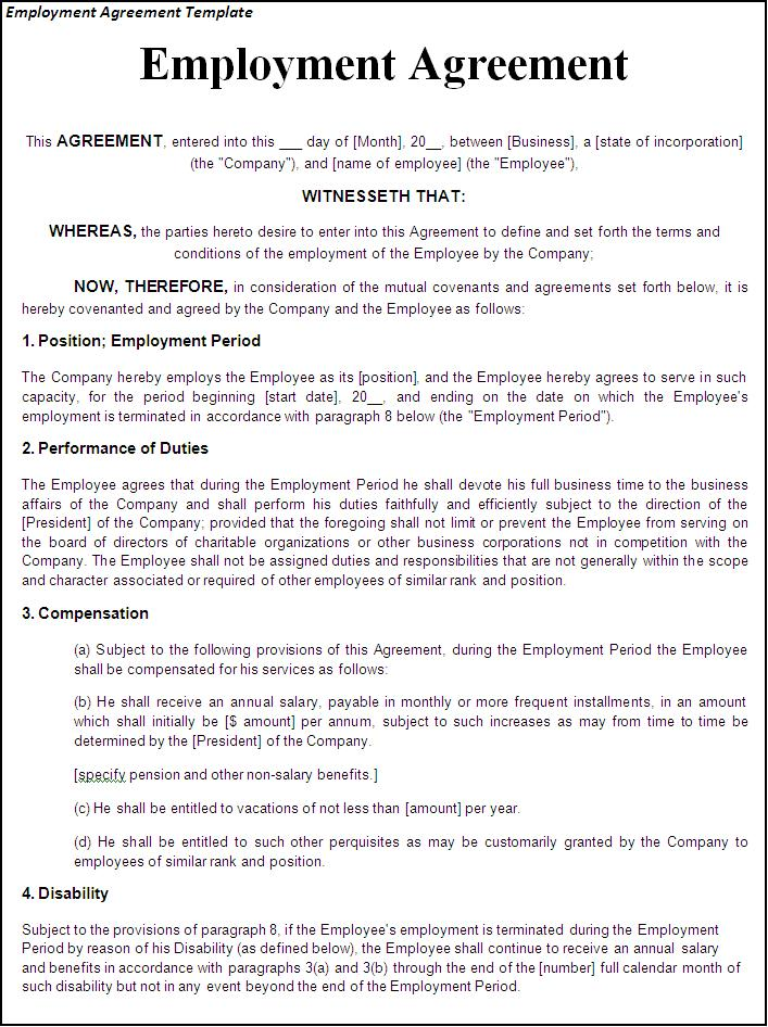 employment contract template contract employee agreement template