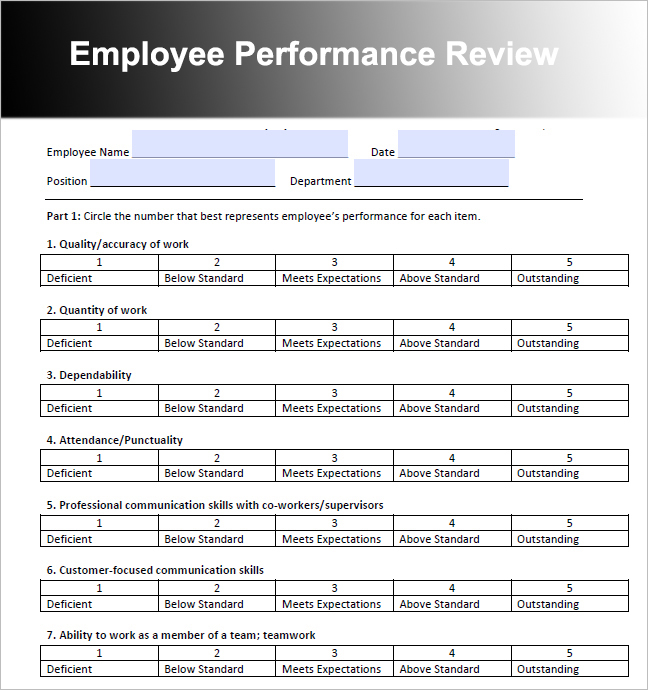 Employee Review Templates 10+ Free PDF Documents Download   Free
