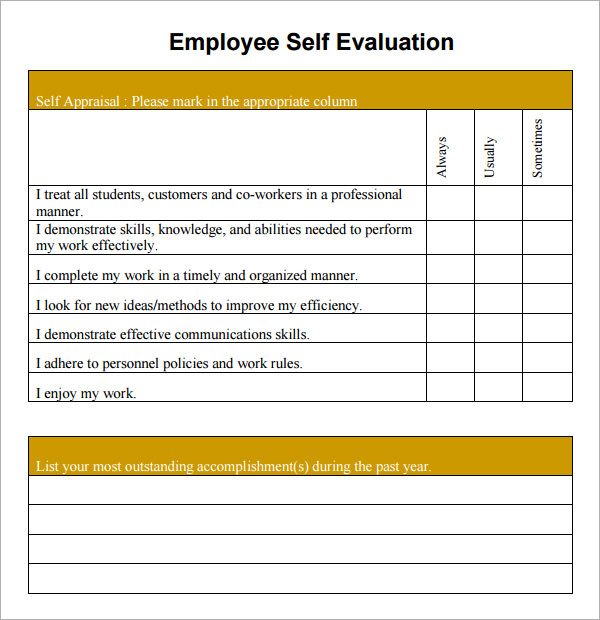 Employee Self Evaluation. Employee Self Evaluation Examples