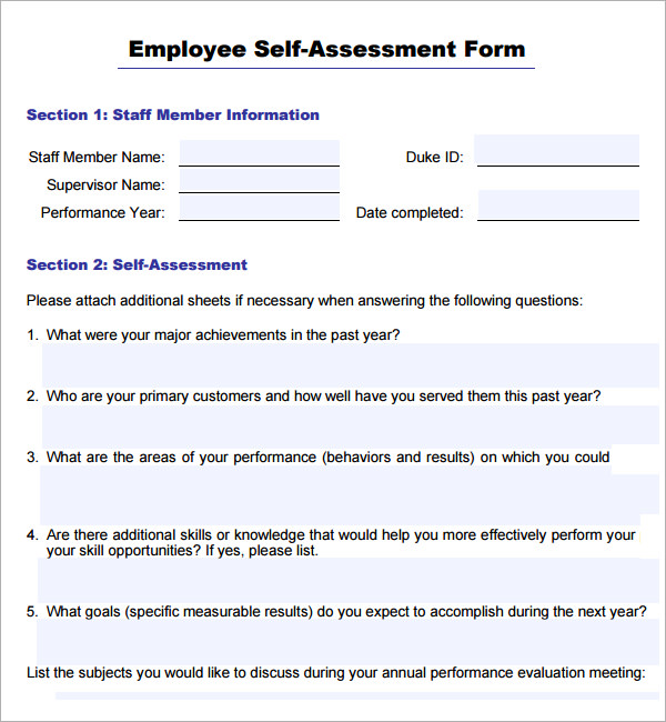 Sample Employee Self Evaluation Form 14+ Free Documents in Word, PDF