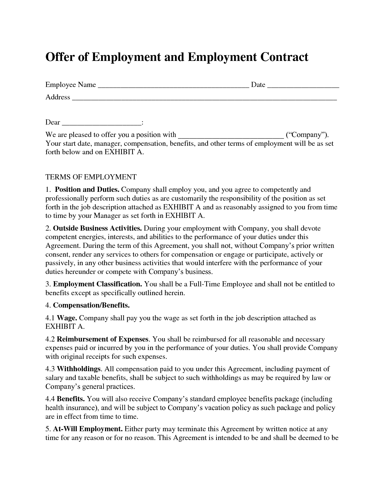employee contract example Londa.britishcollege.co