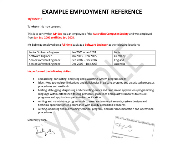 Employee Reference Letters Download Templates