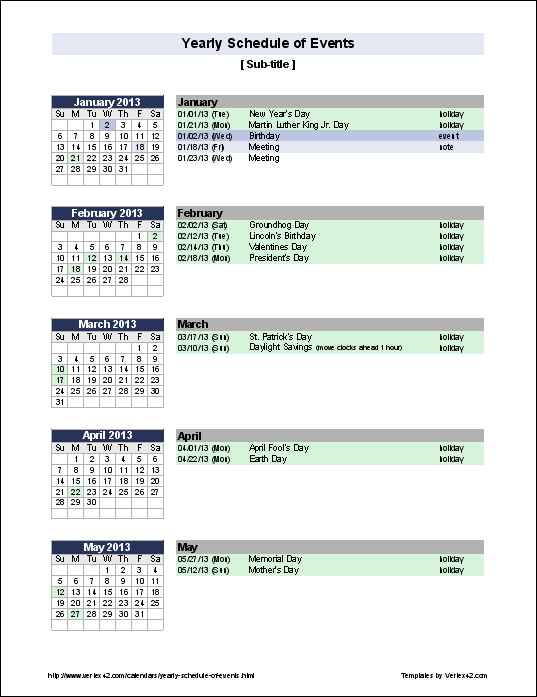 Template For Schedule Of Events