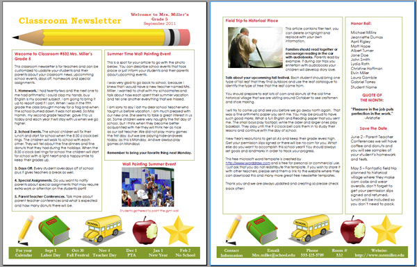 6+ School Newsletter Templates