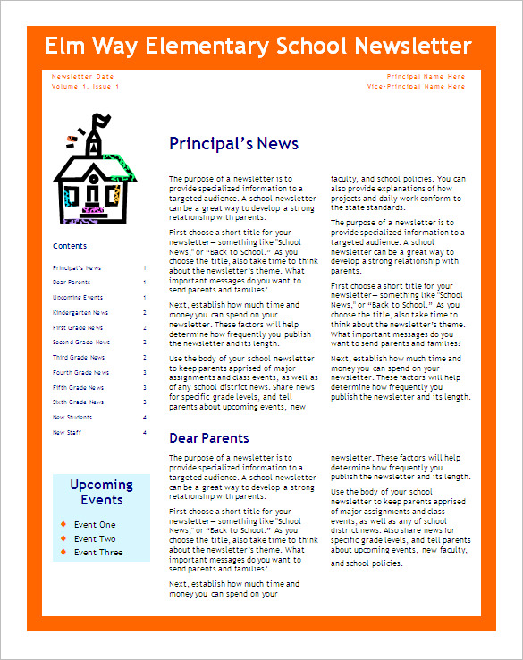 6+ School Newsletter Templates – Free Word, PDF Format Download