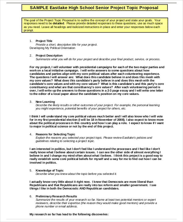 School Project Proposal Templates 9+ Free Word, PDF Format