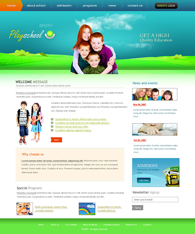 Attractive Play school web templates