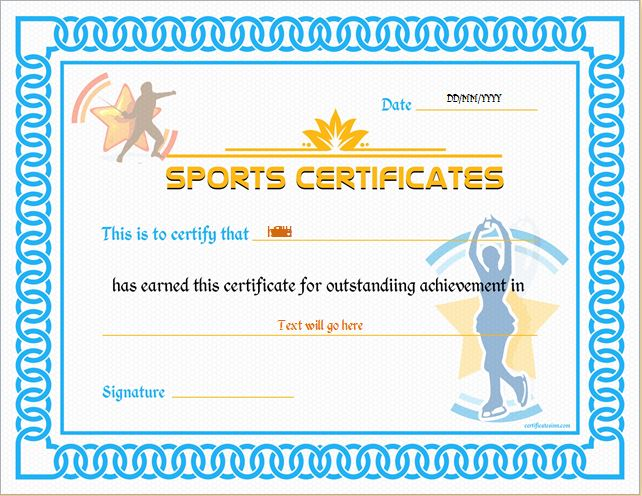 Sports Certificate Template for MS Word DOWNLOAD