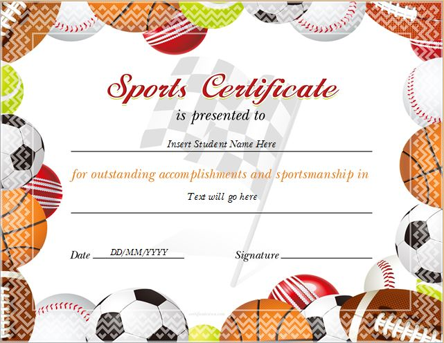Sports Certificate Templates for MS WORD | Professional