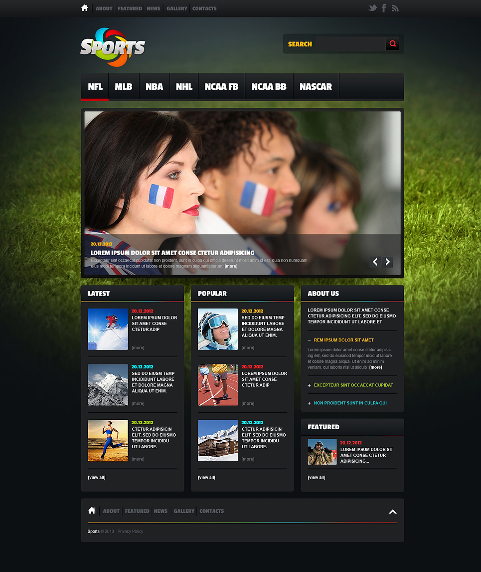 Sports News Website Template #46919