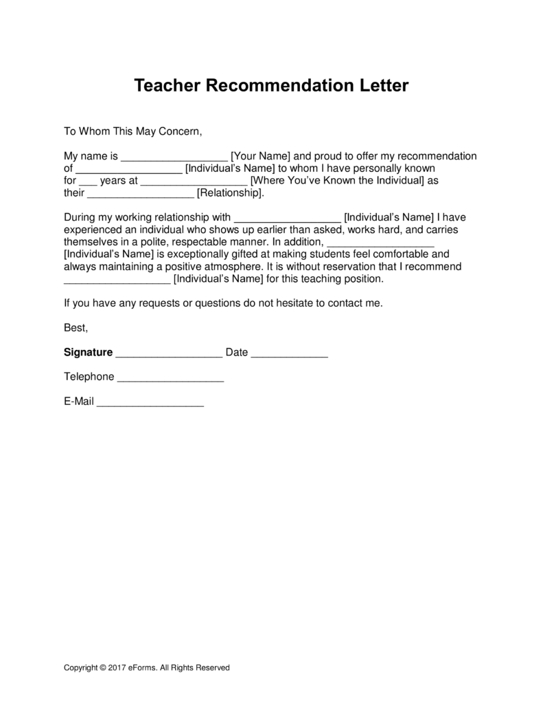 Free Teacher Recommendation Letter Template with Samples PDF