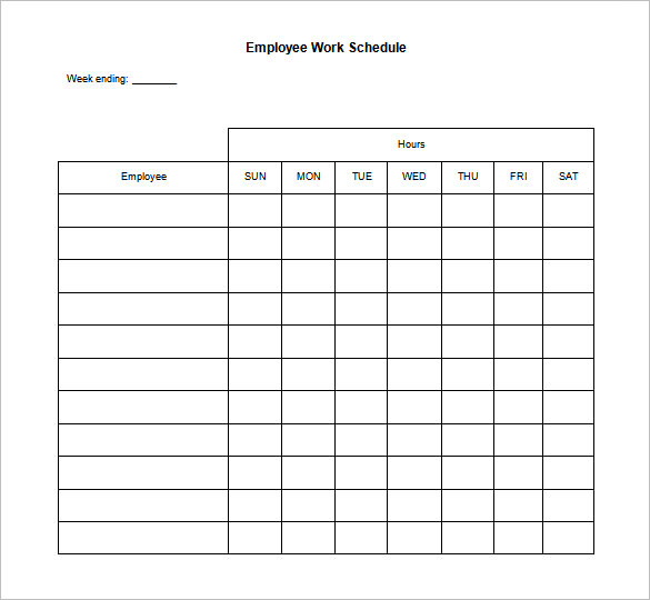 Employ Work schedules template