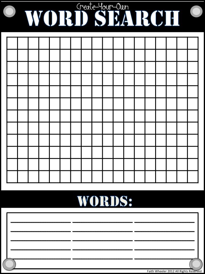 Word Search Template Freebie for spelling, phonics, or sight words