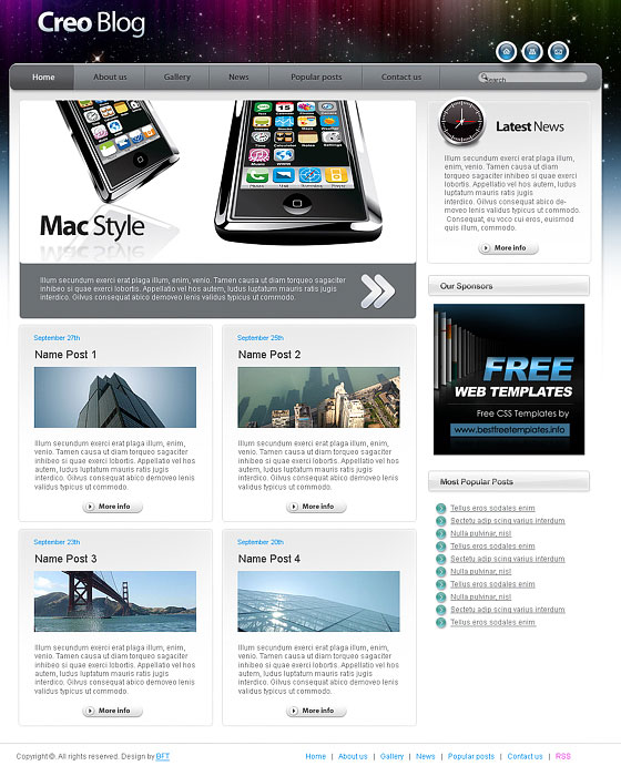 70+ Free XHTML/CSS Templates