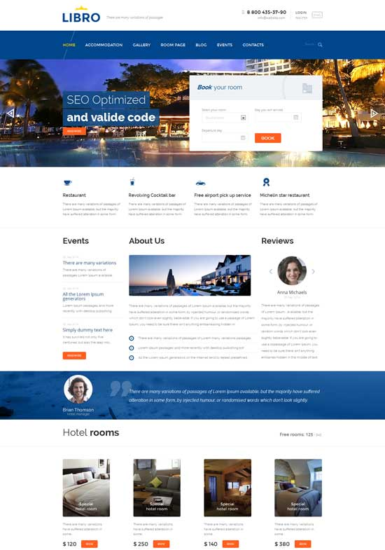 70+ Best Hotel Website Templates Free & Premium