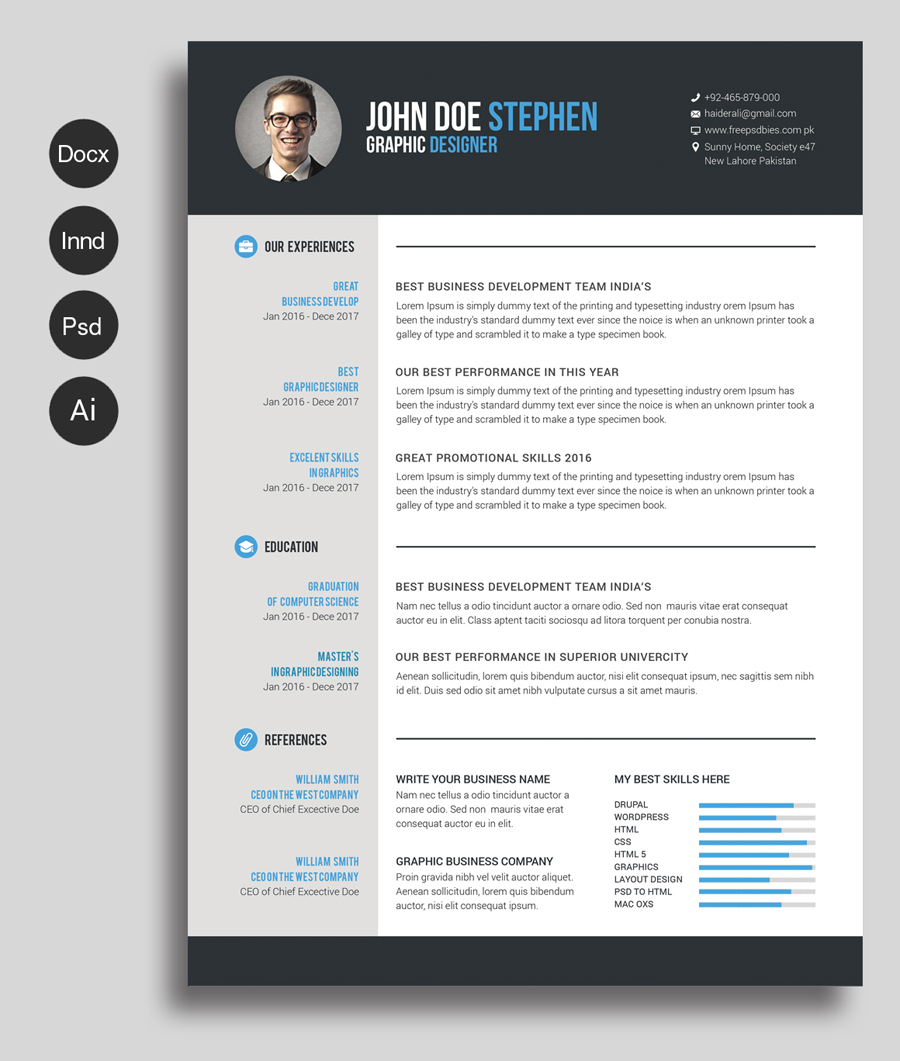 Free Ms.Word Resume and CV Template Free Design Resources