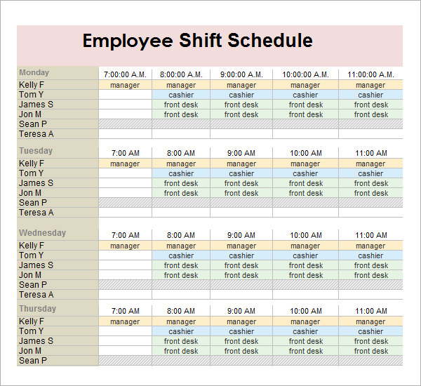 Employee Schedule Template 15+ Free Sample, Example Format