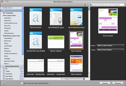 Office 2011 for Mac: Open the Word Document Gallery dummies
