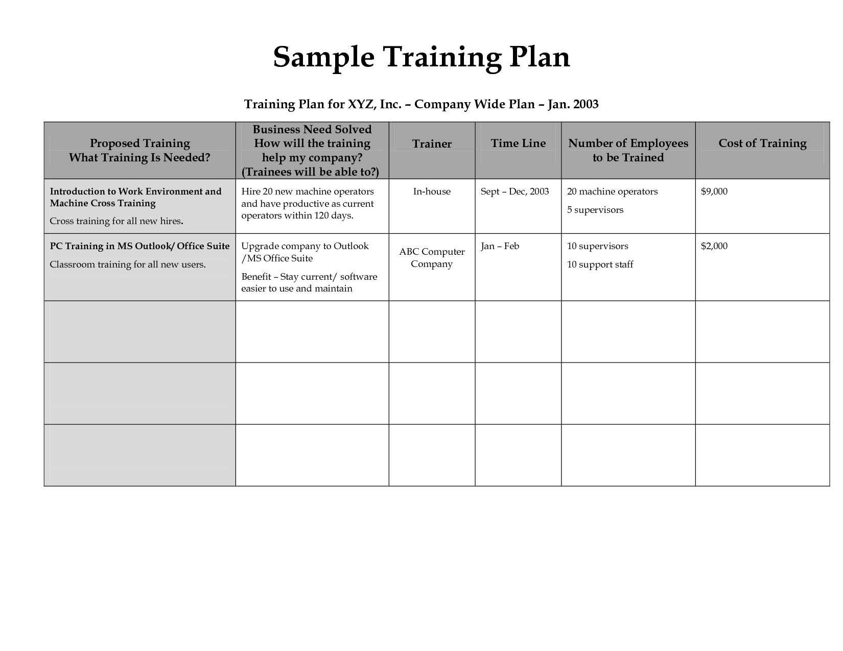 Training Schedule For Employees Template