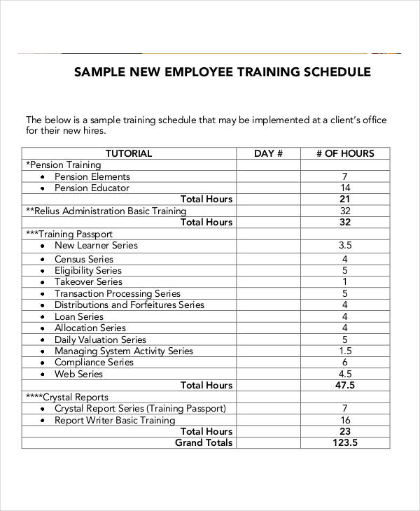 Employee Training Schedule Template 14+ Free Word, PDF Format
