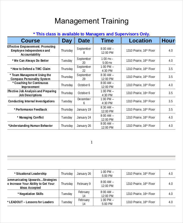 Employee Training Schedule Template Word