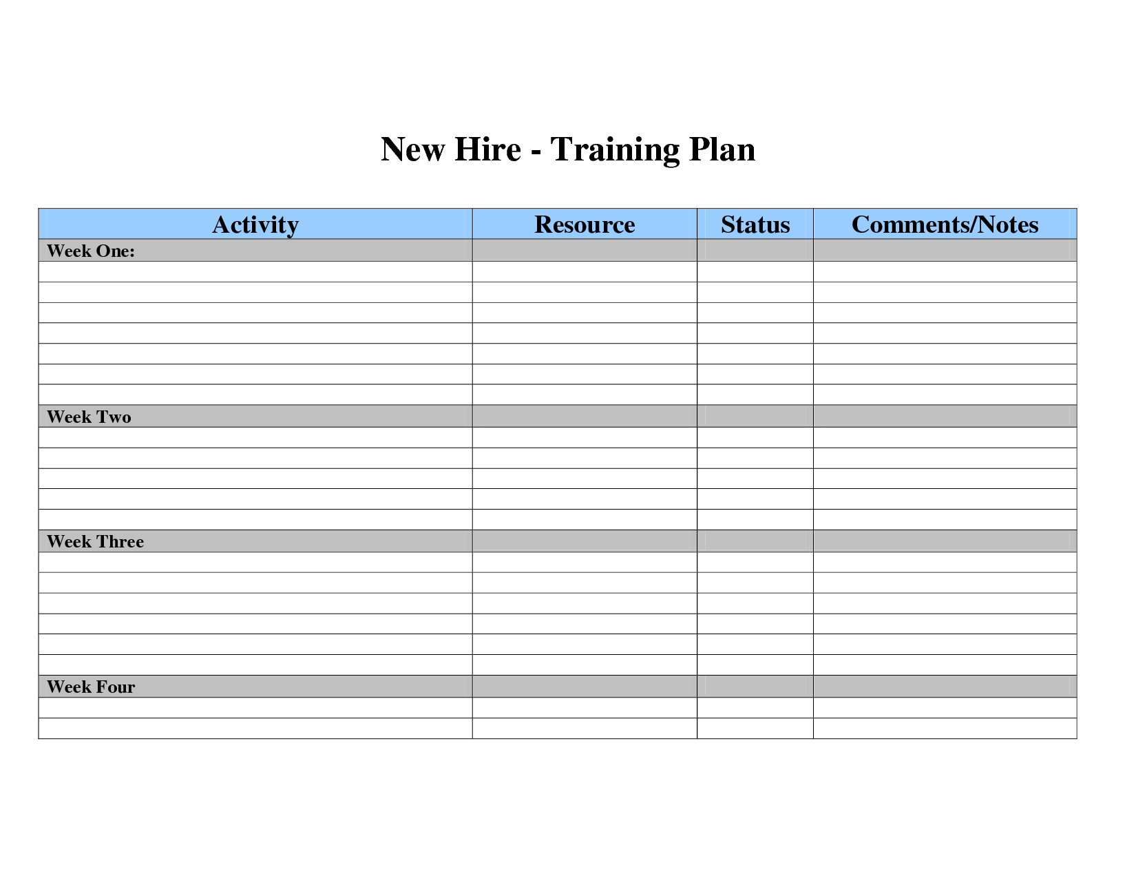 New Hire Training Plan Template