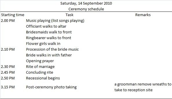 Wedding Itinerary Template Word, PDF Documents Download