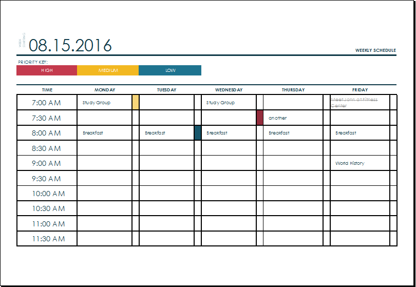 Weekly schedule planner template excel visualbrains.info