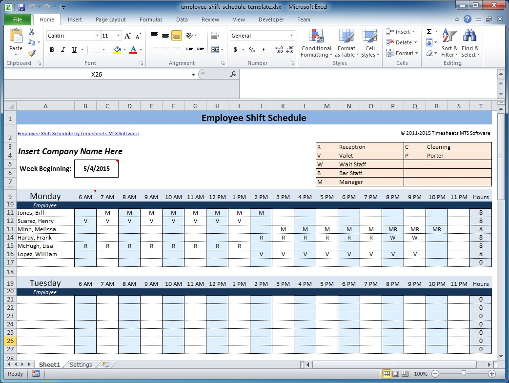 Work Schedule Template Weekly Employee Shift Schedule