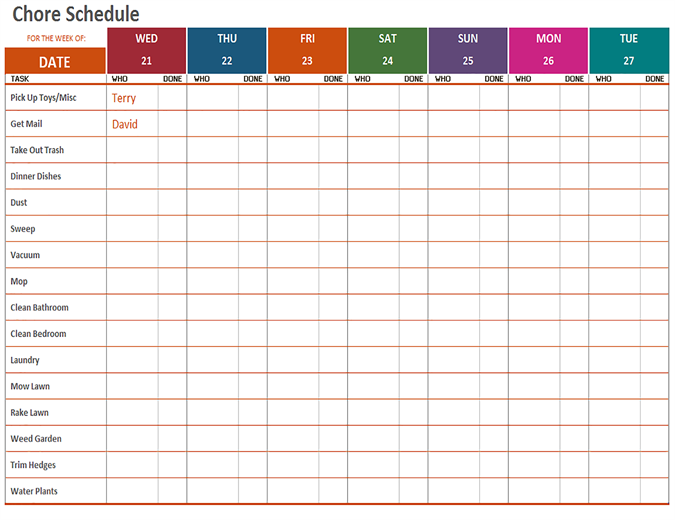 Weekly Schedules Office