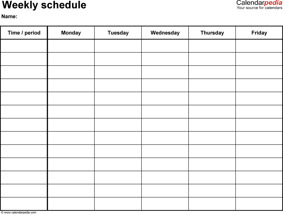 Weekly Schedule Template. Clinical Weekly Activitu Schedule