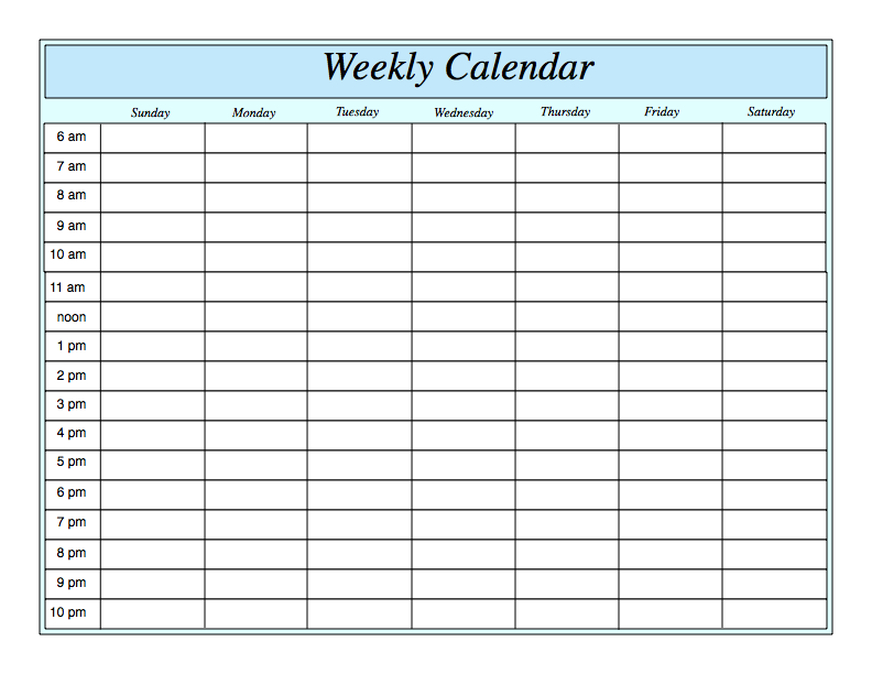 24 Hour Template weekly schedule template