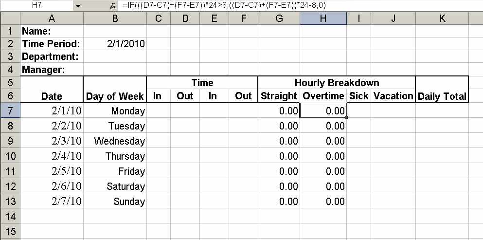 working hours timesheet