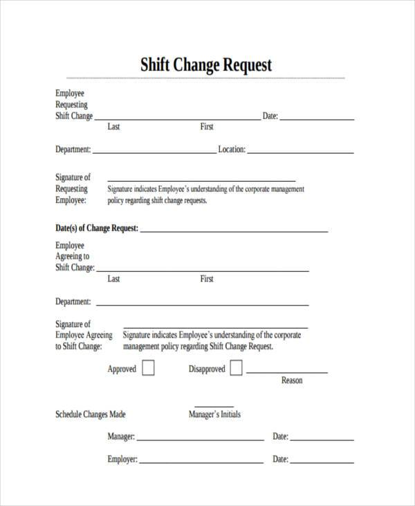 Sample Employee Shift Change Forms 7+ Free Documents in Word, PDF