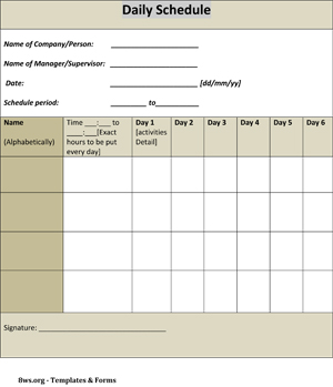 Daily schedule template   8ws Templates & Forms