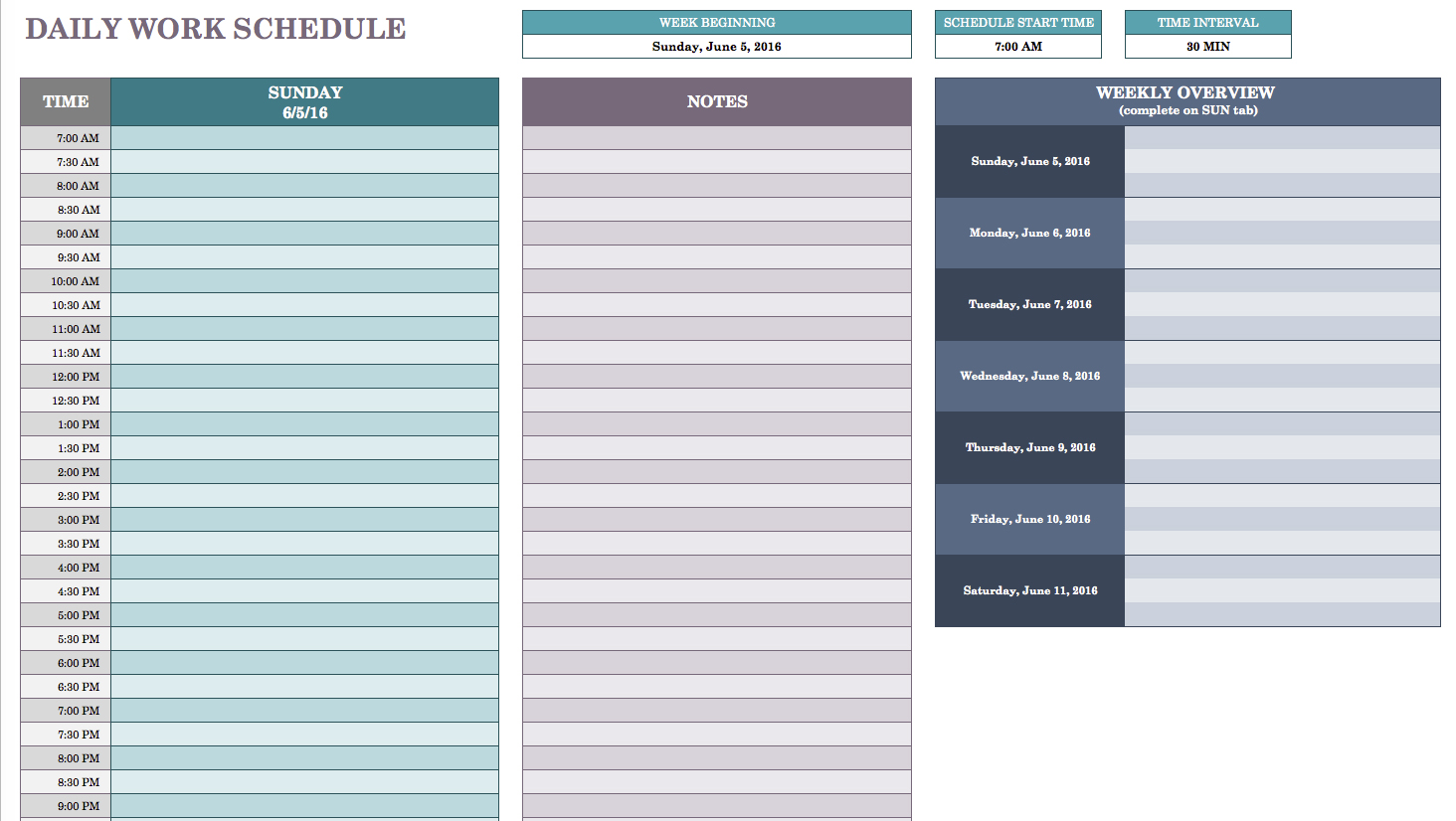 Free Daily Schedule Templates for Excel Smartsheet