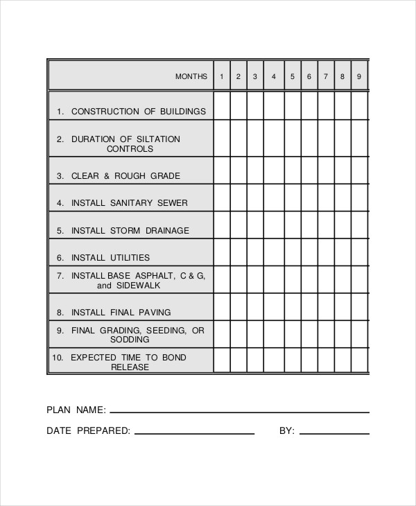 Construction Work Schedule Templates 8+ Free Word, PDF Documents