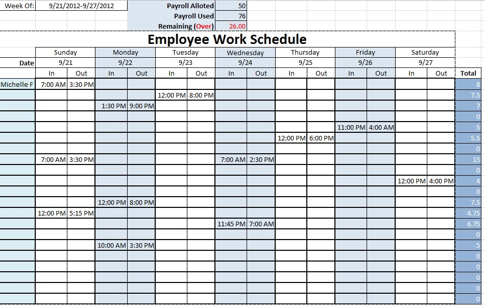 Work Schedule Template Excel Free Weekly Schedule Templates For