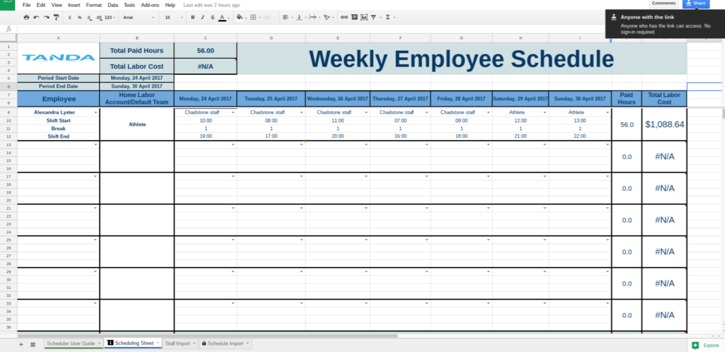 Schedule Template Google Docs | Business Template Ideas