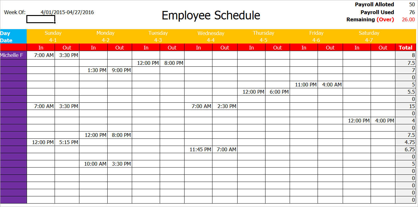 Employee Schedule Template 5 Free Word Excel Pdf Documents