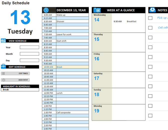 Free Schedules for Excel | Daily Schedules | Weekly Schedules