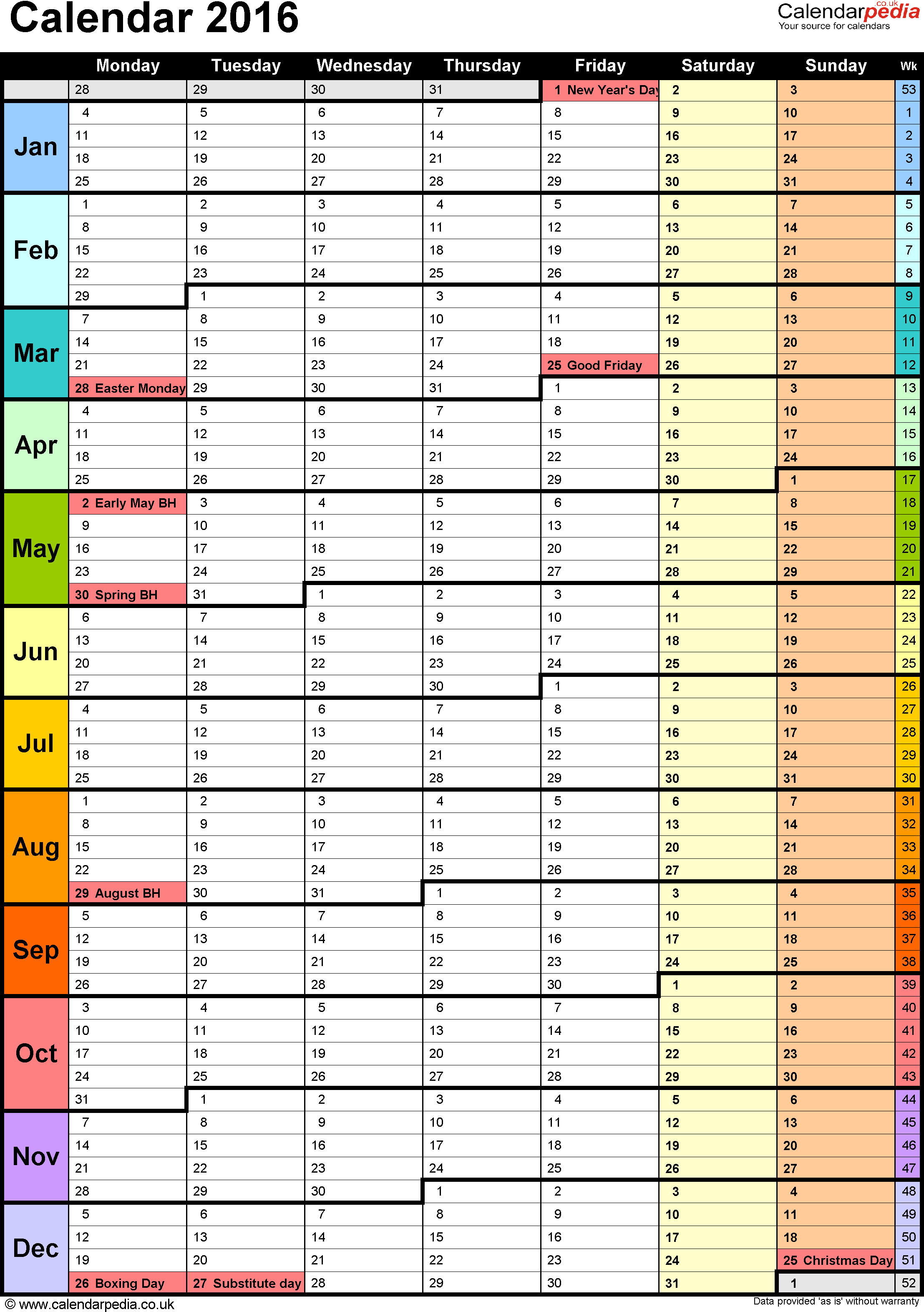 Template 15: Yearly calendar 2016 as PDF template, portrait